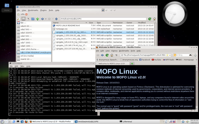 The MOFO Linux uncensored desktop establishing a VPN connection.